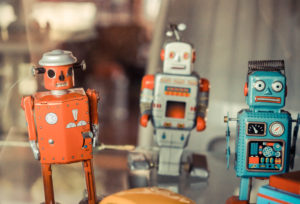 old classic robot tin toys in vintage tone